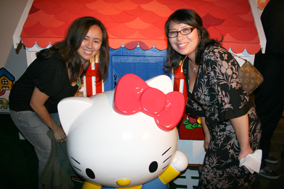 Tee and Cecy hang with Hello Kitty