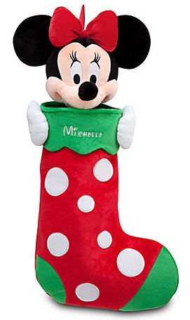 Minnie Mouse Plush Stocking - Holiday - Personalizable. Available at Disney Store! Photo Courtesty of Disney Store.