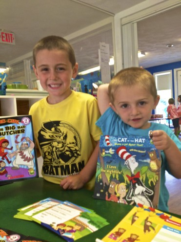 6 year old Jason loved Word Girl and his 3 year old brother went with Cat in the Hat