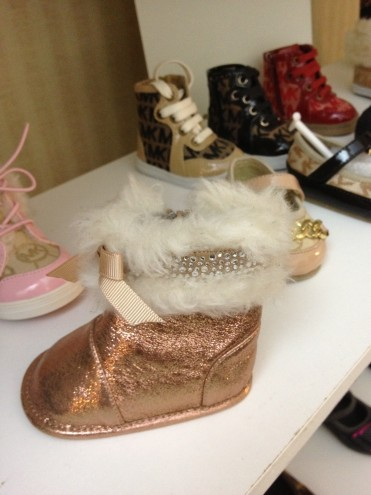 Don't forget those in the cribs. They like their metallic bling with fur edging this season.