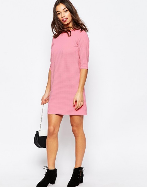 ASOS Petite Shift Dress in Jumbo Rib with 3_4 Sleeves