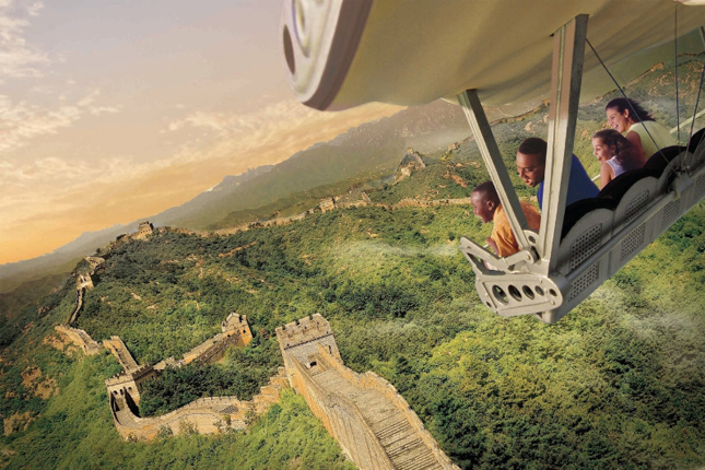 "Guests will celebrate the U.S. debut of the new Soarin' Around the World attraction at The Land pavilion this summer. Now with a third Epcot theater, plus new digital screens and projection systems, the expanded attraction takes guests on an exhilarating ""flight"" above spectacular global landscapes and man-made wonders. (Photo illustration, Disney) (PRNewsFoto/Walt Disney World Resort)"