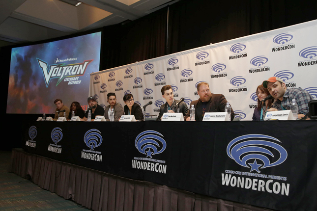 "Rhys Darby, Kimberly Brooks, Tyler Labine, Josh Keaton, Bex Taylor-Klaus, Jeremy Shada, Writer Tim Hedrick, Executive Producer Lauren Montgomery and Executive Producer Joaquim Dos Santos seen at DreamWorks Animation ""Voltron: Legendary Defender"" Wondercon Presentation at Los Angeles Convention Center on Friday, March 25, 2016, in Los Angeles, CA. (Photo by Eric Charbonneau/Invision for DWA/AP Images)"