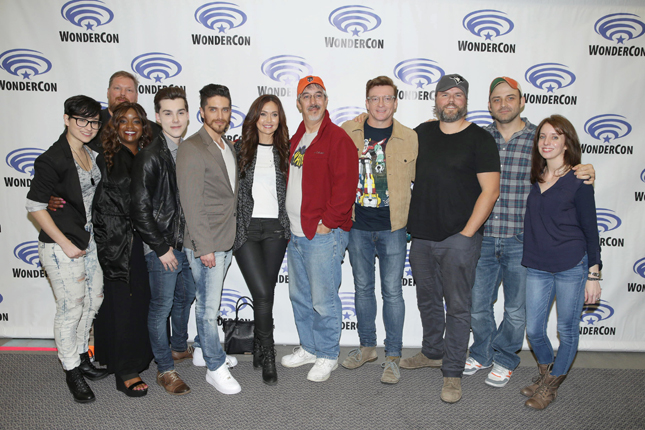"Bex Taylor-Klaus, Writer Tim Hedrick, Kimberly Brooks, Jeremy Shada, Josh Keaton, Moderator Jessica Chobot, Neil Kaplan, Rhys Darby, Tyler Labine, Executive Producer Joaquim Dos Santos and Executive Producer Lauren Montgomery seen at DreamWorks Animation ""Voltron: Legendary Defender"" Wondercon Presentation at Los Angeles Convention Center on Friday, March 25, 2016, in Los Angeles, CA. (Photo by Eric Charbonneau/Invision for DWA/AP Images)"