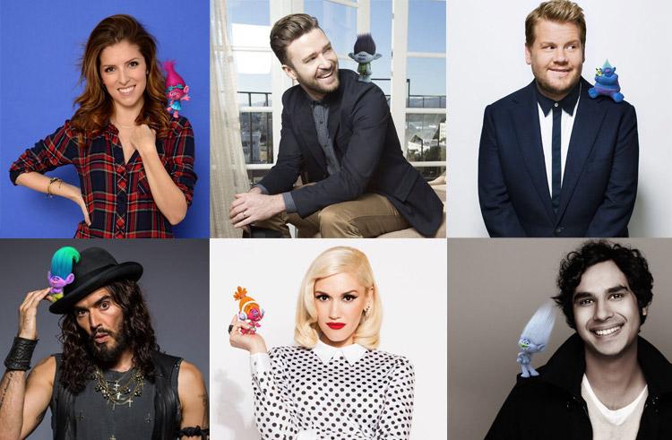 Trolls Cast, Justin Timberlake, Russell Brand, Gwen Stefani troll, Anna Kendrick
