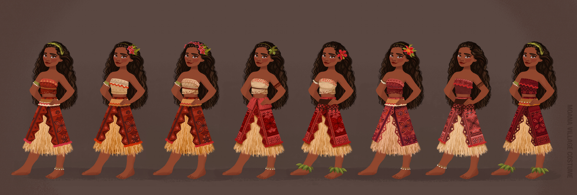 MOANA village costume designs. Artist: Neysa Bové, Visual Development Artist.