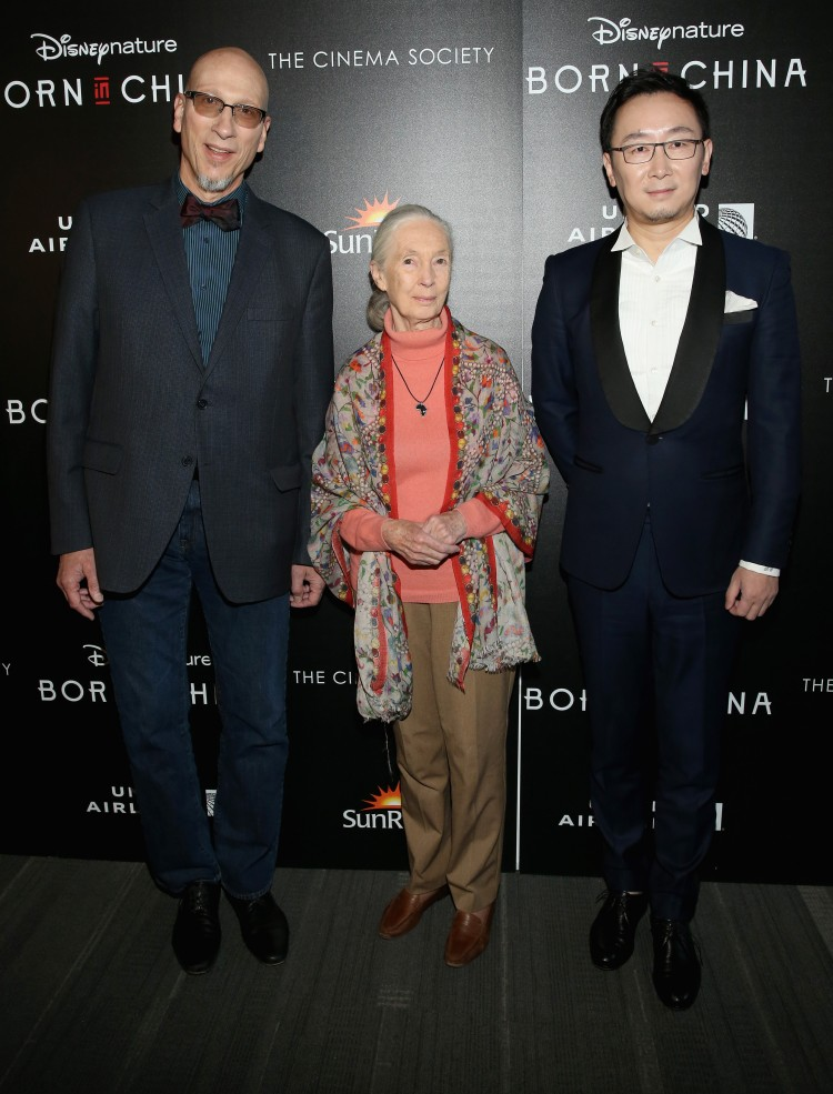 "NEW YORK, NY - APRIL 08: Producer Roy Conli, Dr. Jane Goodall and Director Lu Chuan attend Dr. Jane Goodall, Director Lu Chuan And Producers Roy Conli And Brian Leith Arrive At The New York Premeire Of Disneynature's ""Born In China"" at Landmark Sunshine Cinema on April 8, 2017 in New York City. (Photo by Monica Schipper/Getty Images or Walt Disney Studios Motion Pictures)"