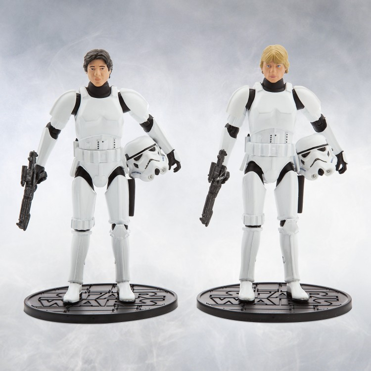 han solo luke skywalker figures, star wars 40th, disney store