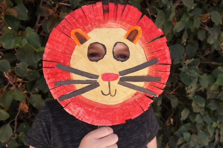 Teaganu0027s paper plate Lion mask lion king paper plate lion mask 3 & Lion King Inspired Craft: Paper Plate Lion Mask + Giveaway - Thatu0027s ...