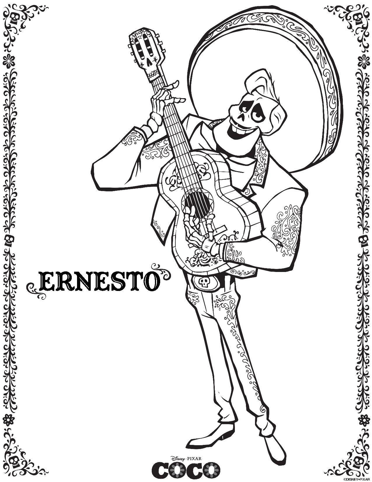 coco skelton ernesto-day of the dead coloring