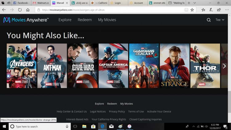 movies anywhere profile marvel