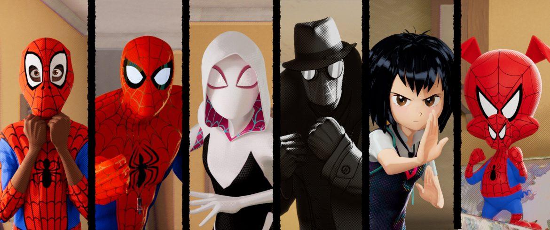Miles Morales (Shameik Moore), Peter Parker (Jake Johnson), Spider-Gwen (Hailee Steinfeld), Spider-Man Noir (Nicolas Cage), Peni Parker (Kimiko Glenn) and Spider-Man (John Mulaney) in Columbia Pictures and Sony Pictures Animation's SPIDER-MAN: INTO THE SPIDER-VERSE.