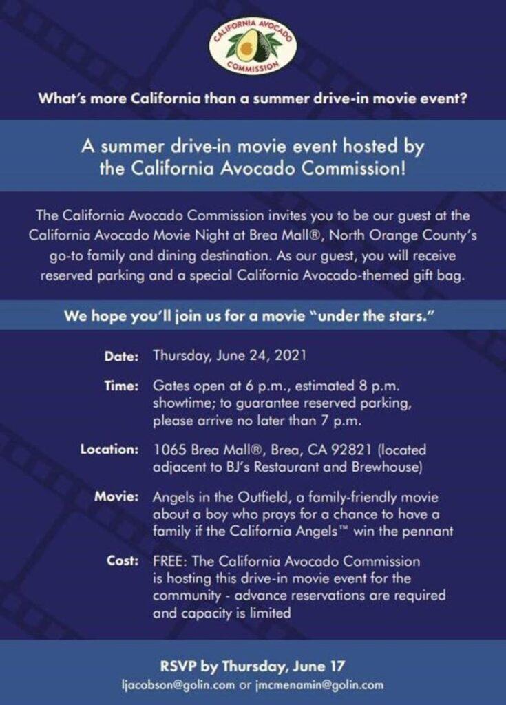 California Avocado movie night