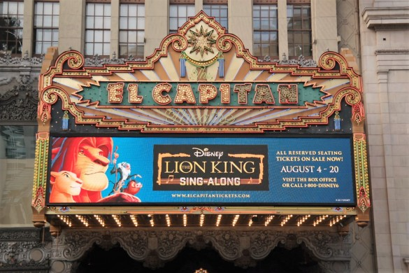 The Lion King sing along, breakfast with timon, el capitan theatre, hollywood movie theaters