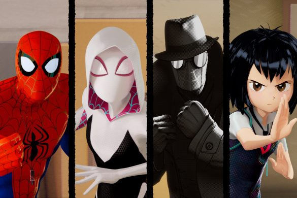 Miles Morales (Shameik Moore), Peter Parker (Jake Johnson), Spider-Gwen (Hailee Steinfeld), Spider-Man Noir (Nicolas Cage), Peni Parker (Kimiko Glenn) and Spider-Man (John Mulaney) in Columbia Pictures and Sony Pictures Animation's SPIDER-MAN: INTO THE SPIDER-VERSE.