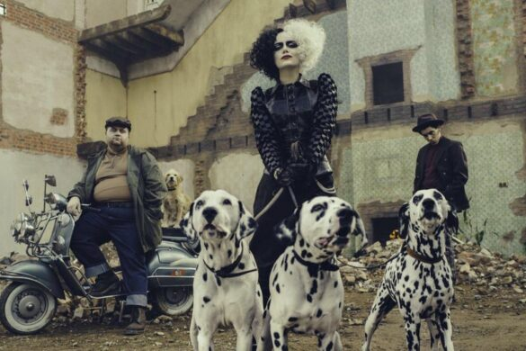 cruella, emma tstone, dogs